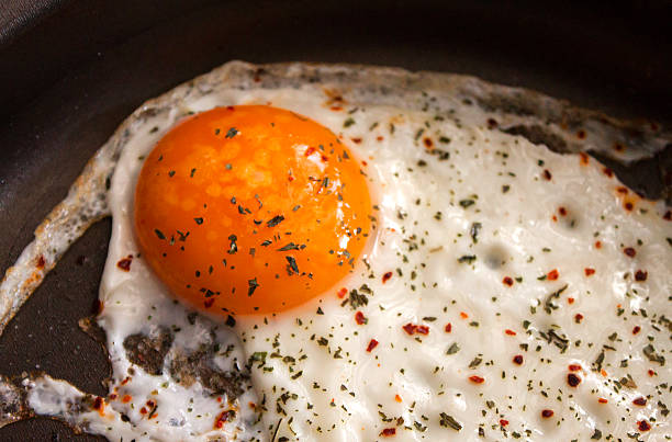 Fried, spicy and hot egg in black pan, Sunny side up