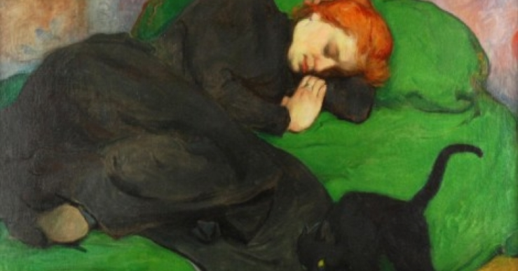 Sleeping Woman With a Cat by Władysław Ślewiński